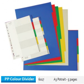 Supplier ATK Bantex 6017-00 PP Colour Divider A3 Potrait 5 Divider Harga Grosir